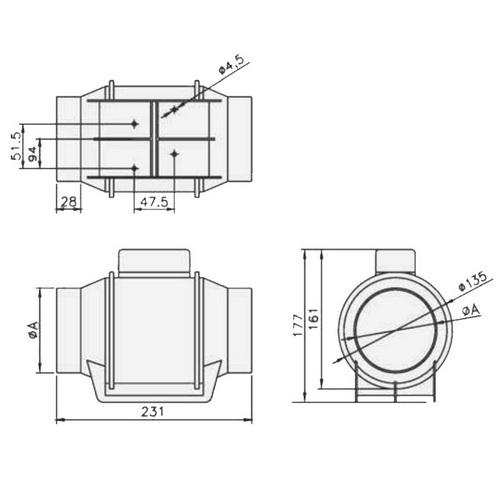 Rohrventilator Turbo - Abmessungen