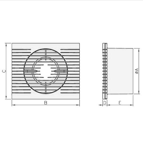 Badlüfter STYL II S im flachen Design - Abmessungen