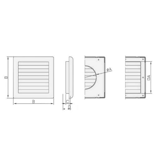 Lüftungsgitter mit mechanischem Verschluss - Abmessungen